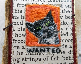 Embroidered Assemblage Cat Book Brooch