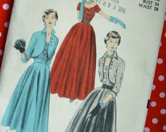 1950 Advance Designer Pattern 5650 - BEAUTIFUL Evening Dress Ball Gown with Bolero * Factory Folded * 2 sizes available