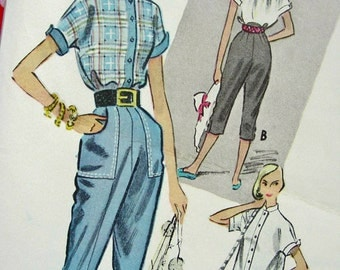 UNCUT * 1950's McCalls Pattern 8820 * Misses' High Fashion Tapered Pedal-Pushers and Shirt  * Size 16..bust 34