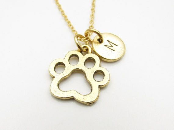 paw print necklace gold paw print charm initial