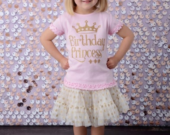 Birthday Princess Shirt, Girls Gold Sparkle Shirt, Birthday Girl Shirt, Pink and Gold Glitter Party