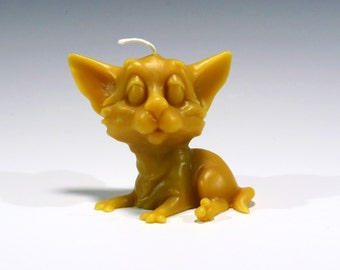 Beeswax Candle Sassy Cat Candle, Cat Candle, Kitten Candle, Big Ear Cat Beeswax Honey Scented Handcrafted Candle