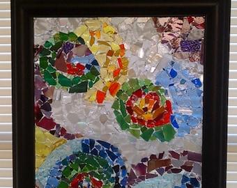 Abstract Mosaic Glass Window Panel, Mosaic Glass Art Panel, Mosaic Art Glass, Mosaic Glass, Mosaic Panel, Glass on Glass Mosaic
