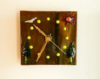 The Great Outdoors Fused Glass Clock, Rich Wood Grain Brown with Trees, Bird and Sun, Original Art Piece, CG1
