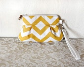 Chevron Wristlet/ Pouch/ Clutch// Nautical stripe // Small Size // Yellow White - READY--