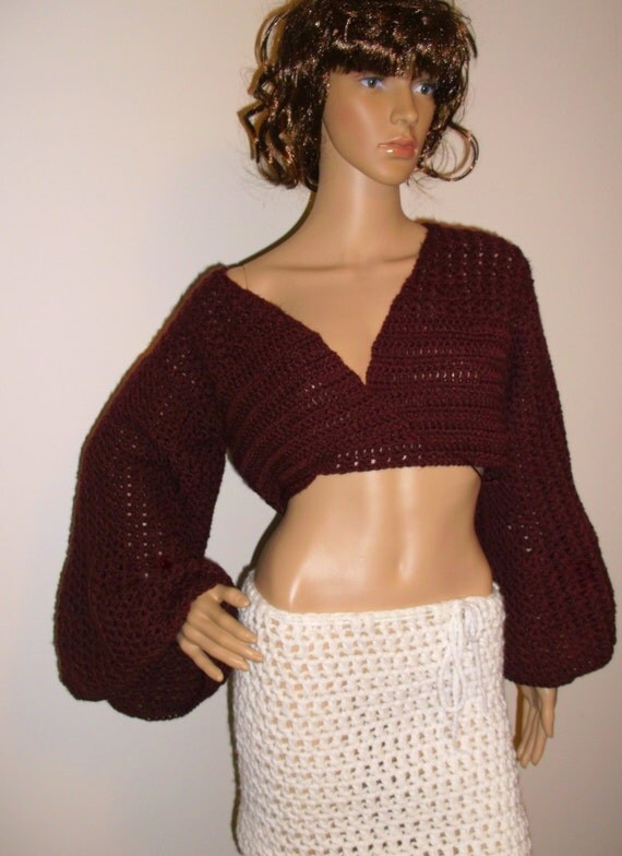 Crochet Crop Top - with ATTITUDE, Cropped Sweater, crochet sweater, Beach cover, festival,  sweater SHRUG, Boho, Bell sleeve, gypsy,