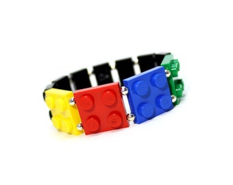 Children's Bracelet in Primary Colors - made from New LEGO (r) Pieces, Geek Bracelet