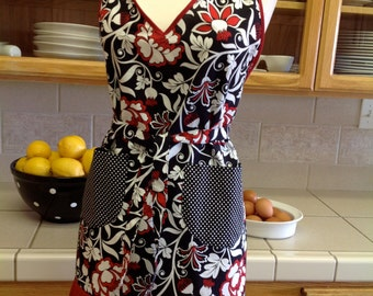V-Neck Flirty apron -   Stunning elegance in black, red, and white floral print with polka-dot pockets.