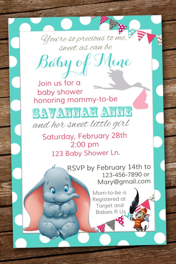 dumbo baby shower invitation baby of mine