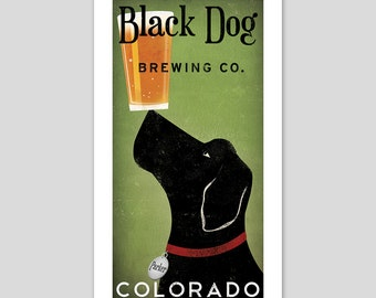 CUSTOM Personalized Labrador Dog Craft Beer Brewing Company graphic art illustration GICLEE PRINT Signed