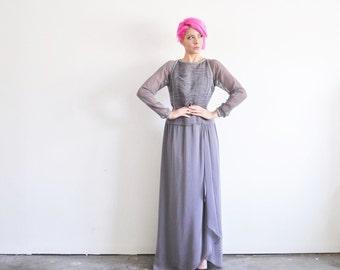sheer purple beaded gown . Oleg Cassini Black Tie dress .medium .sale