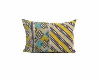 Vinatge Kantha Pillow - Lemon Lahariya - 12 x 18