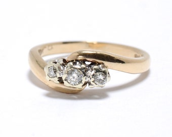 Edwardian Style Diamond Trilogy Ring - Size 6.5 - M 1/2