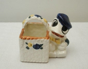 Vintage Occupied Japan Duck with Basket Planter