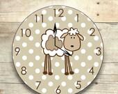 lamb clock lamb nursery decor wooden lamb lamb wall clock nursery art sheep nursery children's clock wooden clock unisex nursery decor