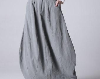 Light grey linen skirt maxi skirt women skirt (1192)