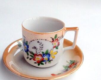 Nippon Demitasse Cup and Saucer,  Peach Floral Lusterware Porcelain,Moriyama,Red Occupied Japan Mark,Blue Red Floral,Vintage serving,1940s,