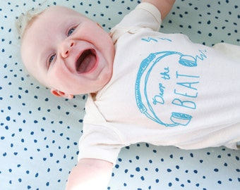 Organic Baby DJ Bodysuit - Drop the Beat, Natural - Ready to Ship