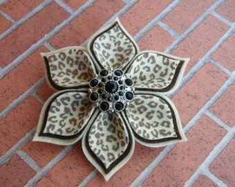 "4"" Leopard Flower Clippie, Leopard Pin, Brown Leopard, Cream Leopard Pin, Leopard Flower, Cheetah Clippie, Cheetah Bow, Cheetah Flower Clip"
