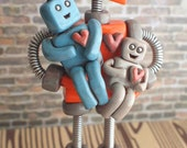 Robot Father and Children | MADE TO ORDER Customizable | Robot Family | Clay, Wire, Paint
