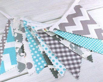 Bunting,Banner,Photography Prop,Fabric Flags,Elephant,Nursery Decor,Birthday Decoration,Garland,Flags,Gray,Aqua Blue,Grey,Chevron,Circus