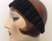 Gold crush headband. Black and gold velvet. Boho headband, Flapper. Free shipping in the US.