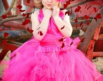 Hot Pink Chiffon Ribbon and Hot Pink Maribou Big Bow Headband fits infants, toddlers and girls.