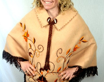 Vintage 1970s Wool Embroidered Fringe Cape Poncho Coat - Made in Mexico