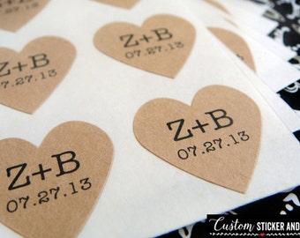 "108 custom initials and wedding date heart stickers .75"" brown kraft paper, envelope seals, wedding favor, custom wedding stickers (S-34)"