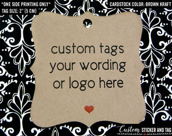 36 custom tags with your text or logo, 2x2 inch, wedding favors, gift tags, goody bag welcome bag product tag logo tag custom tag (T-16)