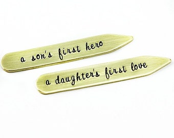 Personalized Wedding Collar Stays - Hand stamped Brass - son's first hero - a daughter's first love - gift for daddy - father's day