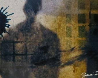 Silhouette Stencil figure Graffiti Original drawing painting Mixed Media sketchbook remix