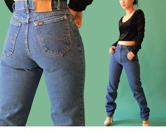 Vintage 80s High Waisted Jeans /  Faded Dark Denim Wash Jeans / 1980s Mom Jeans / LEE Jeans / Tapered Leg Jeans 27 Waist