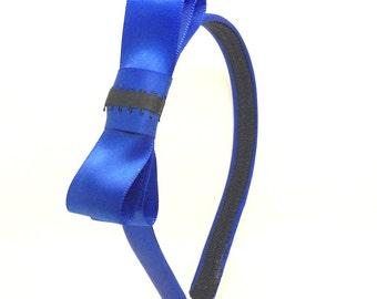 Royal Blue Bow Headband w/ black Accent - Preppy Blair Waldorf Gossip Girl Inspired Large Blue Bow Headband - Girls, Teen or Adult Headband
