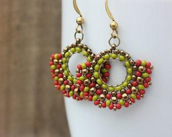 JULY SALE 50% Off - Red and Green Beaded Hoop Dangle Earrings, Beaded Hoops, Boho, Bohemian, Summer, Tribal Jewelry