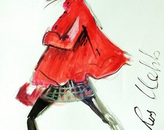 Fashion Illustration. Thank you Coco Chanel For This Little Red Cape. by  Ros Webb