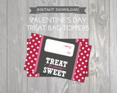 Printable Valentines Treat Bag Toppers - Valentine Favors - Kids Valentine Exchange - DIY Printable Valentine Bag Topper - Red & Pink