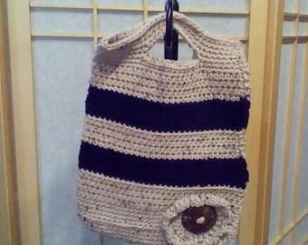 "Handmade Crochet Tote Bag- Size: 9"" x 12"""