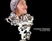 White Felt Silk Scarf  Women Scarf Designer Scarf Paris Artiste Scarf  Green Fashion Scarf   Handmade in France