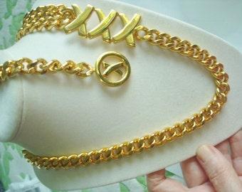 18K G P Paloma Picasso XXX Chain Link Monogram Necklace Belt