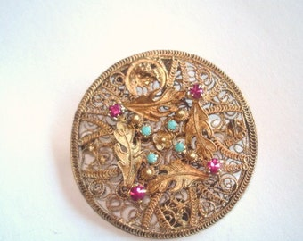 Antique Turquoise Ruby Rhinestone Flower Brooch Gold Tone