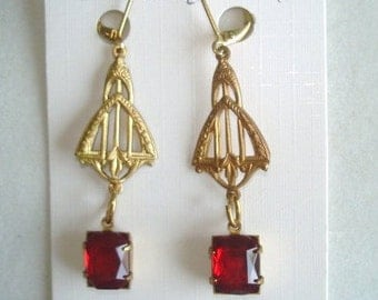 Ruby Red  Faceted Glass Dangle Earrings