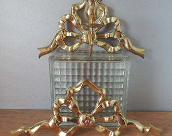 Unusual Pair of Brass Wall Ribbon Bow Sconces. Heavy Brass Candle Holder Wall Decor