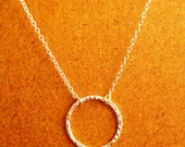 Hammered Ring Pendant Sterling Silver Thin Chain Necklace