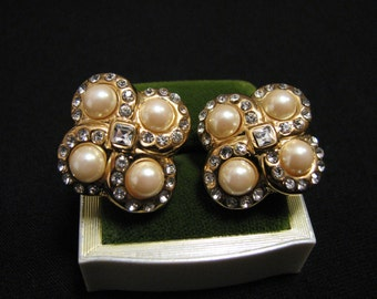 Vintage Gold Plated Diamond Rhinestone and White Faux Glass Pearl Swirled Eternity Knot Clip Earrings