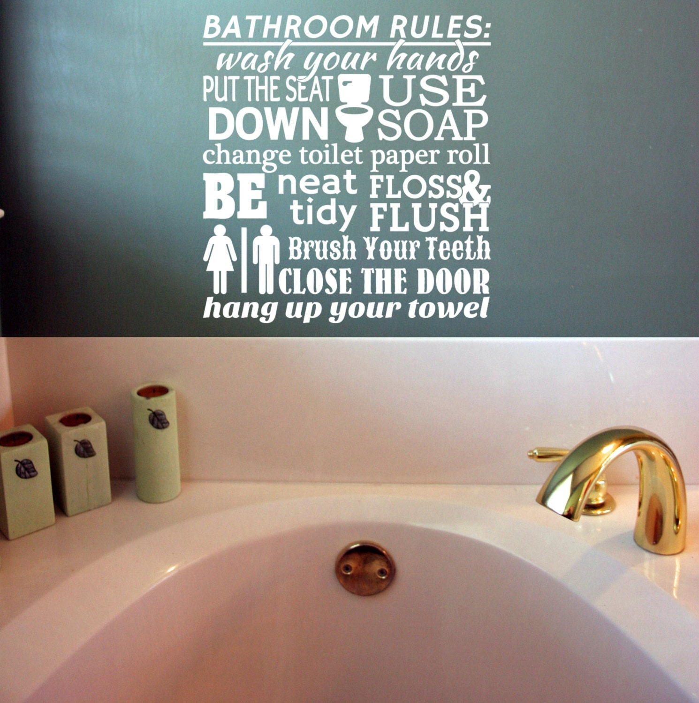 Vinyl Wall Lettering Bathroom Rules