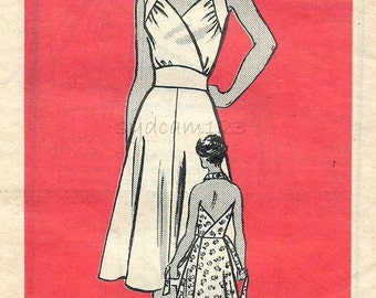 Vintage 1950s Dress Pattern Back Wrap Halter Flared Skirt Tie Belt Marian Martin 9458 Bust 36 UNCUT