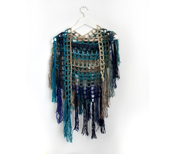 Crochet Infinity Scarf With Fringe Pattern : Fringe Scarf Blue Crochet Scarf Infinity Scarf Triangle