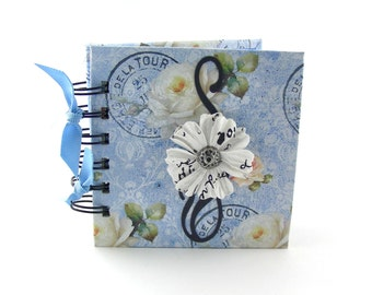 White Paris Roses Gratitude Book, gratitude journal, thank you book, thank you journal, gratitude diary, blessings book - sky blue