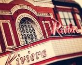 The Riviera - Chicago Theatre Photography, Wall Art Print - The Riv, crimson, retro home decor, Wall decor, Chicago vintage sign
